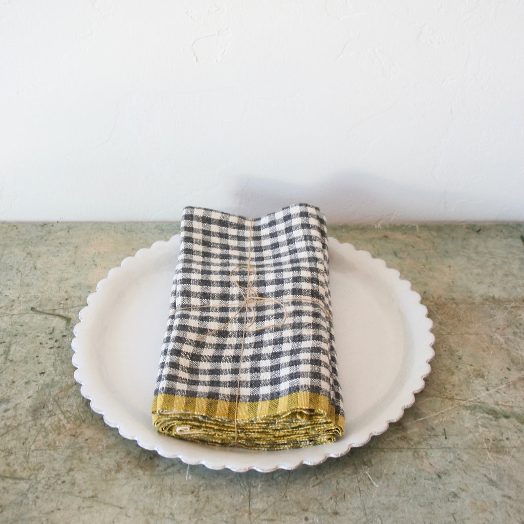 Set Of Four Gingham Linen Napkins - Charcoal