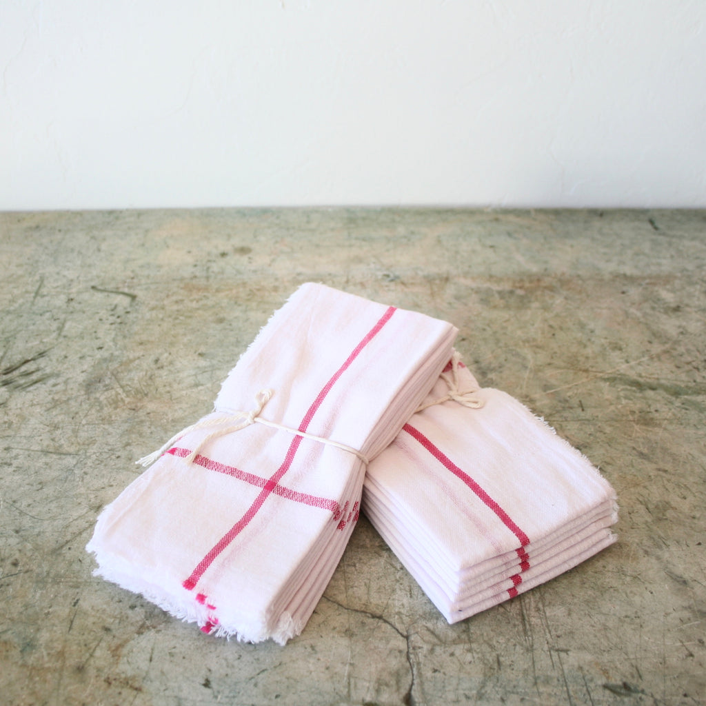 Set Of Six Cotton Napkins - White & Red