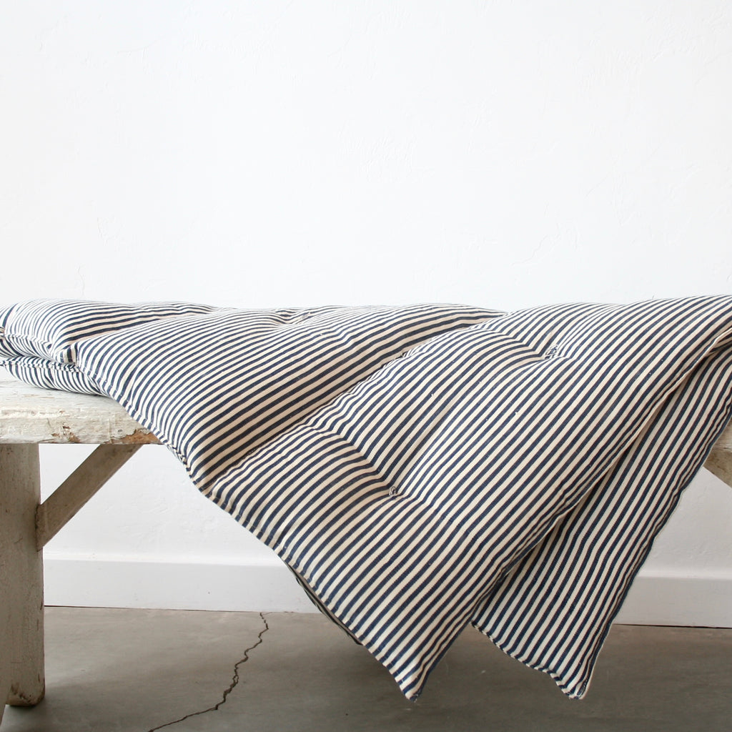 Day Bed Cushion - Blue and Cream Ticking Stripes