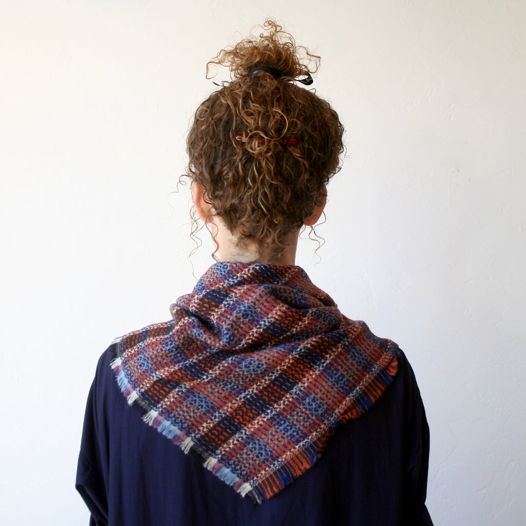 Wool Plaid Scarf - Brown & Blue