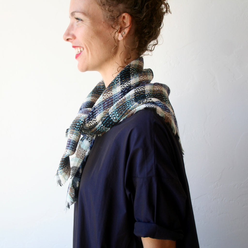 Wool Plaid Scarf - Cream, Blue, Black