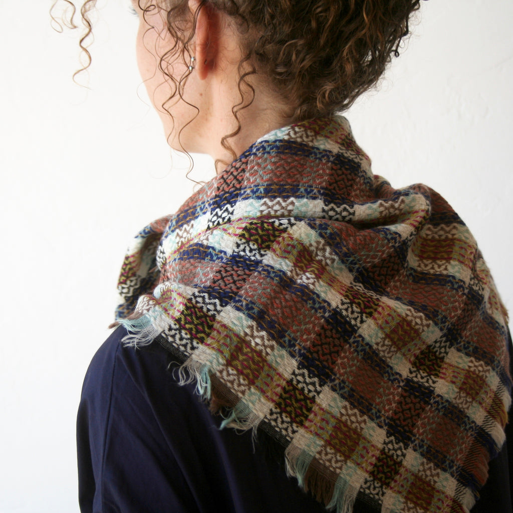 Wool Plaid Scarf - Cream, Blue, Brown