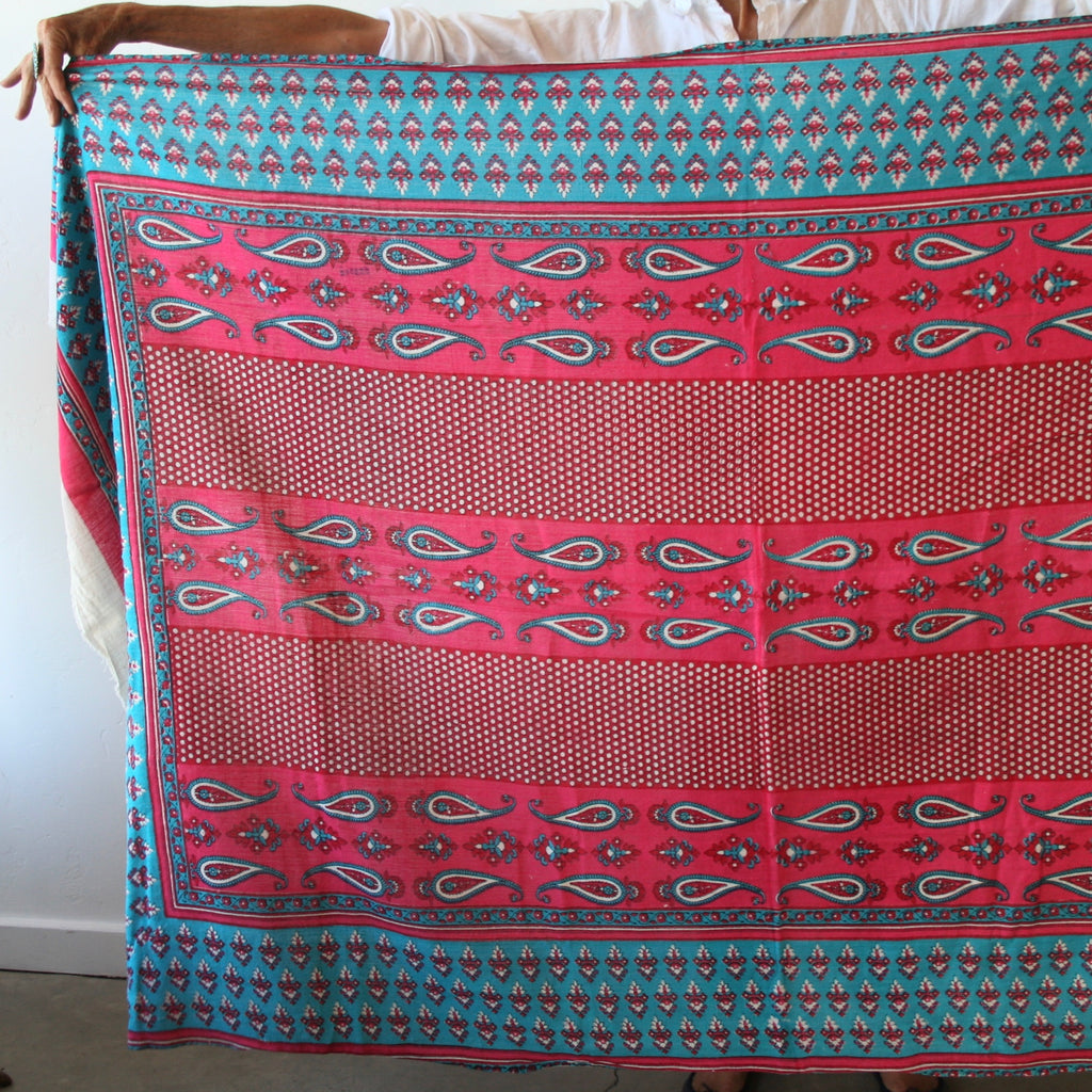 Vintage Textile - Hot Pink & Turquoise Small Paisley