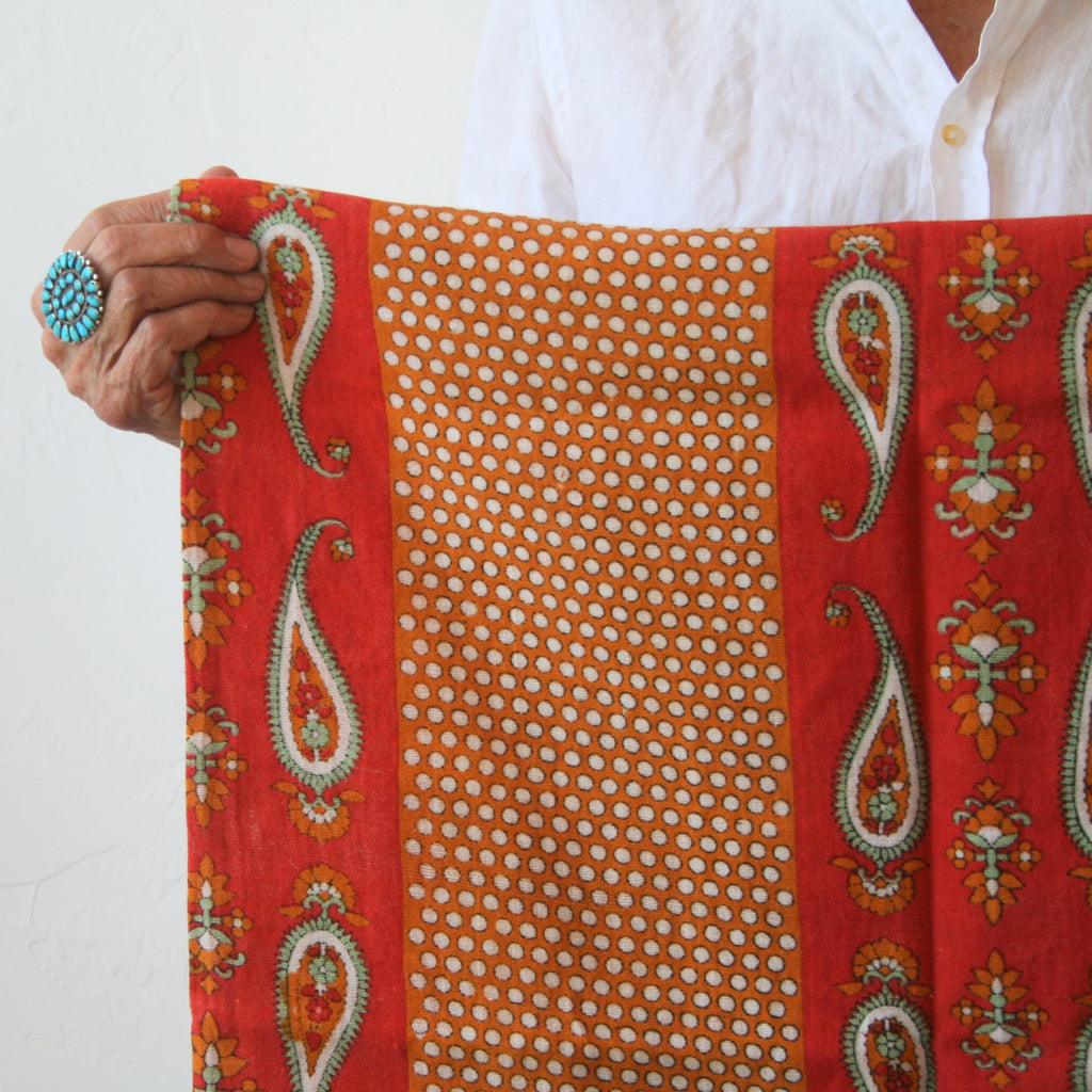 Vintage Textile - Orange & Mint Paisley