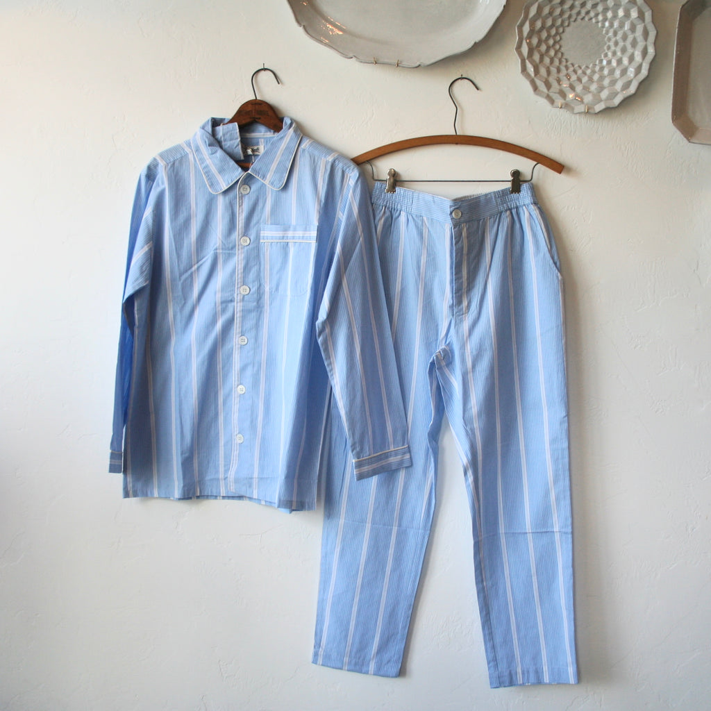 Pajama Set - Blue and White Stripes
