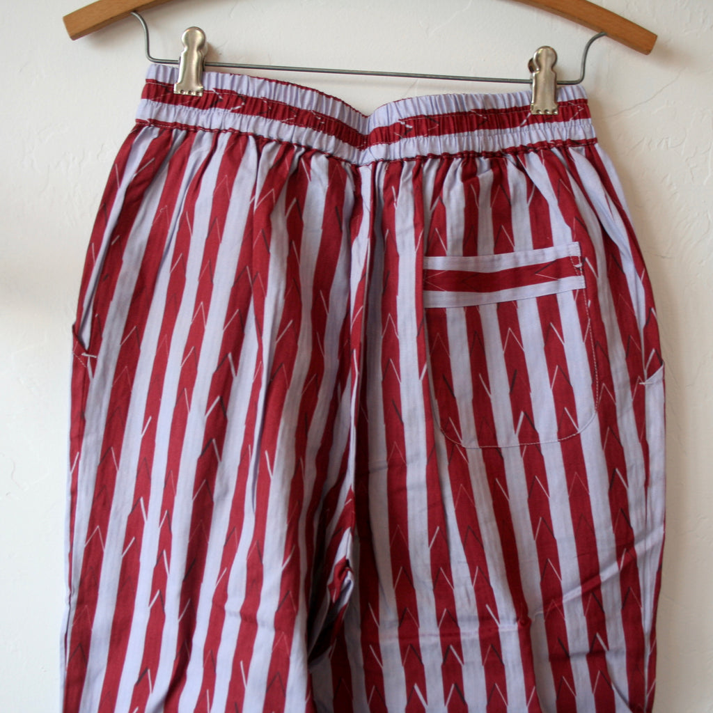 Pajama Set - Burgundy and Lavender Stripes