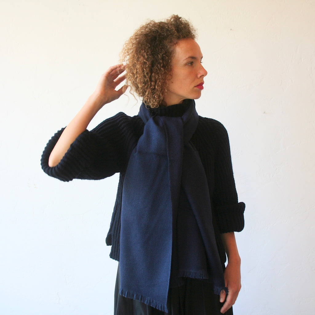 Cashmere/Wool Shawl - Navy Blue