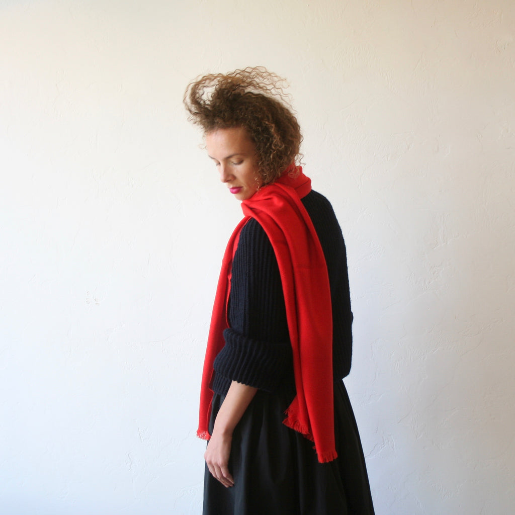 Cashmere/Wool Shawl - Red
