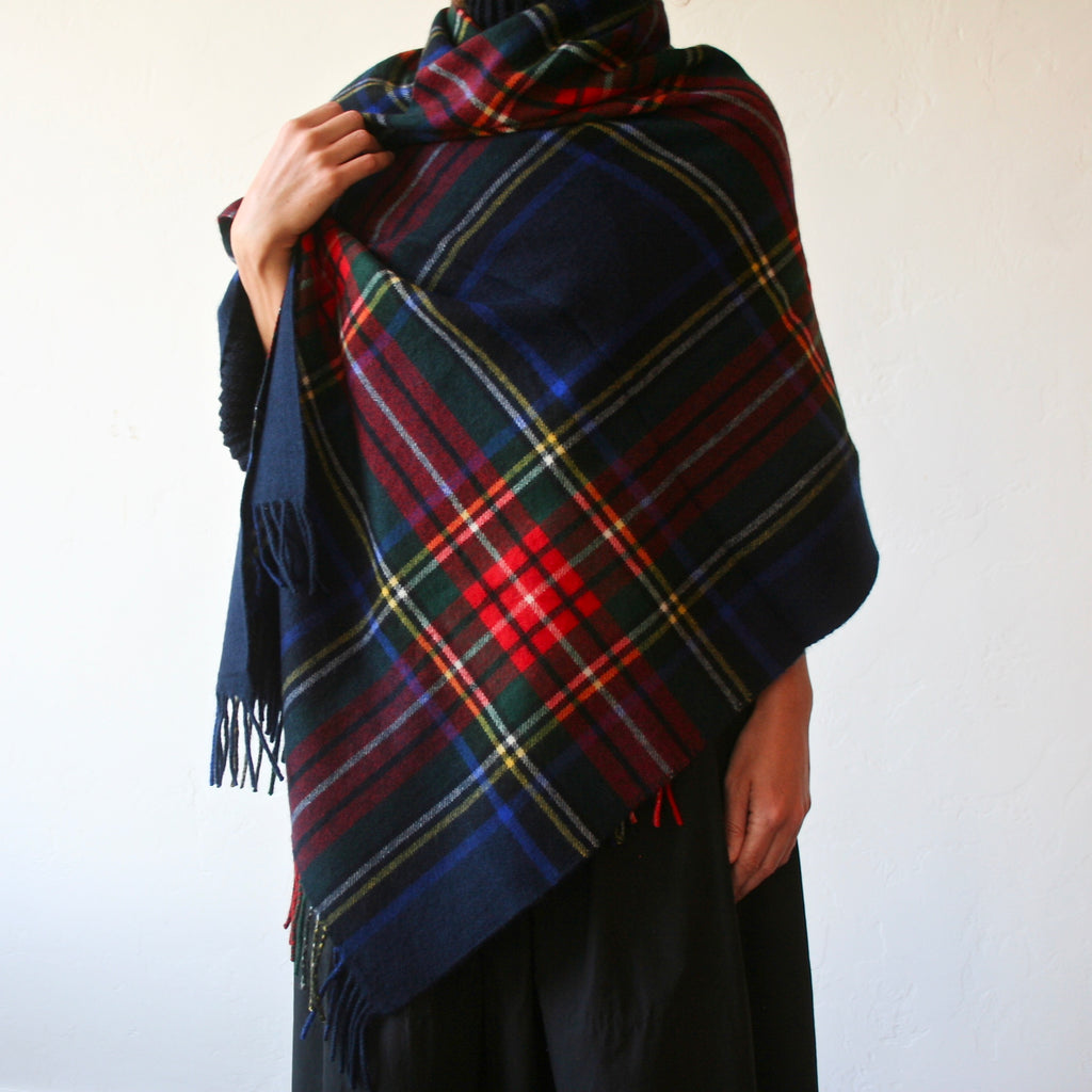Cashmere Plaid Shawl - Navy