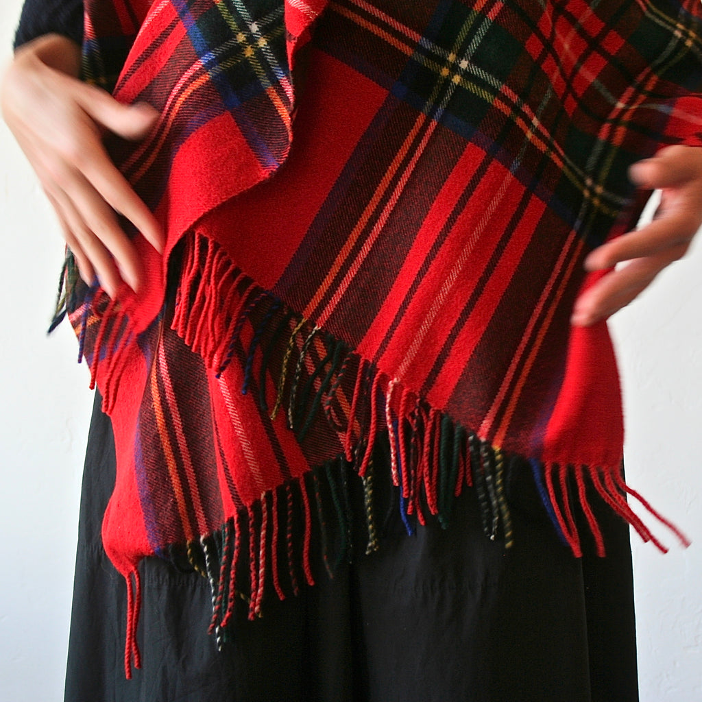 Cashmere Plaid Shawl - Red