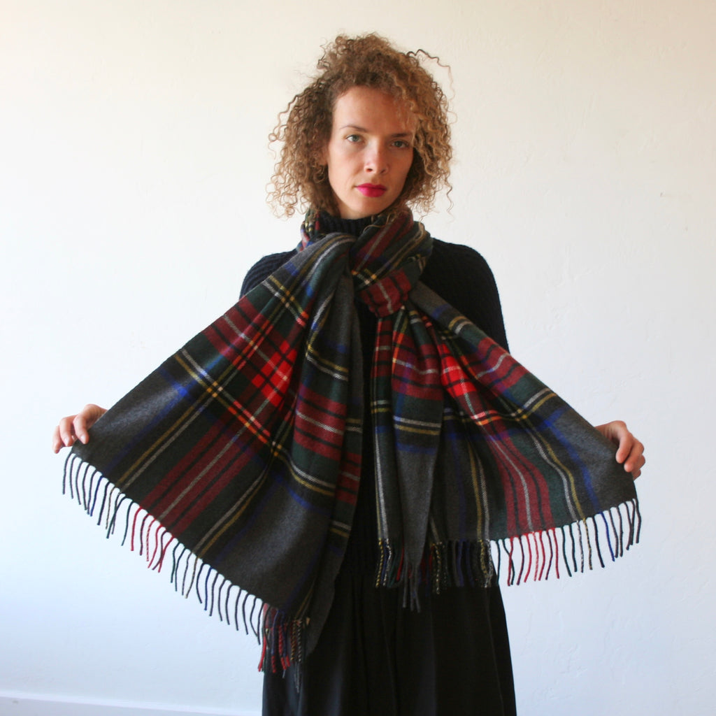 Cashmere Plaid Shawl - Charcoal