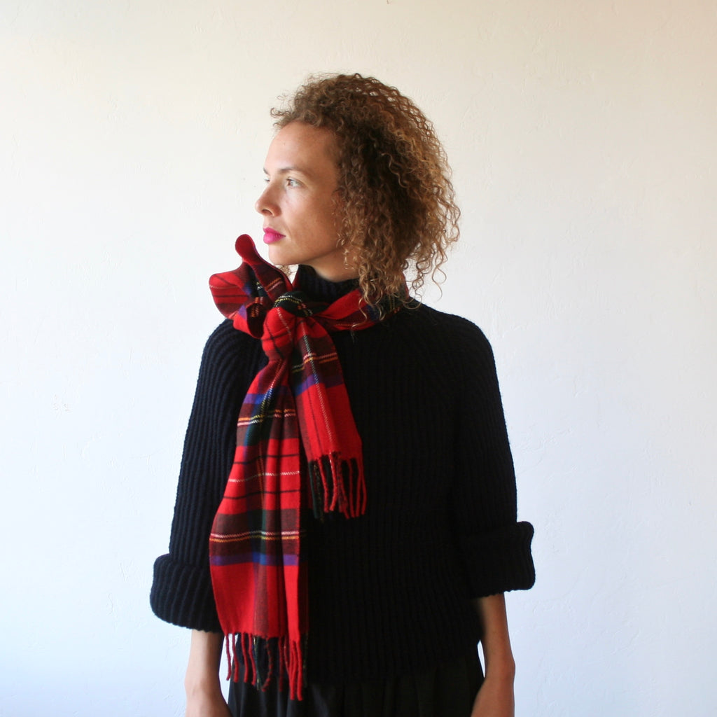 Cashmere Plaid Scarf - Red