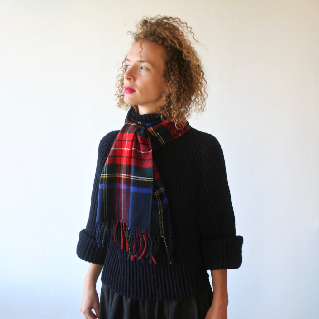 Cashmere Plaid Scarf - Navy