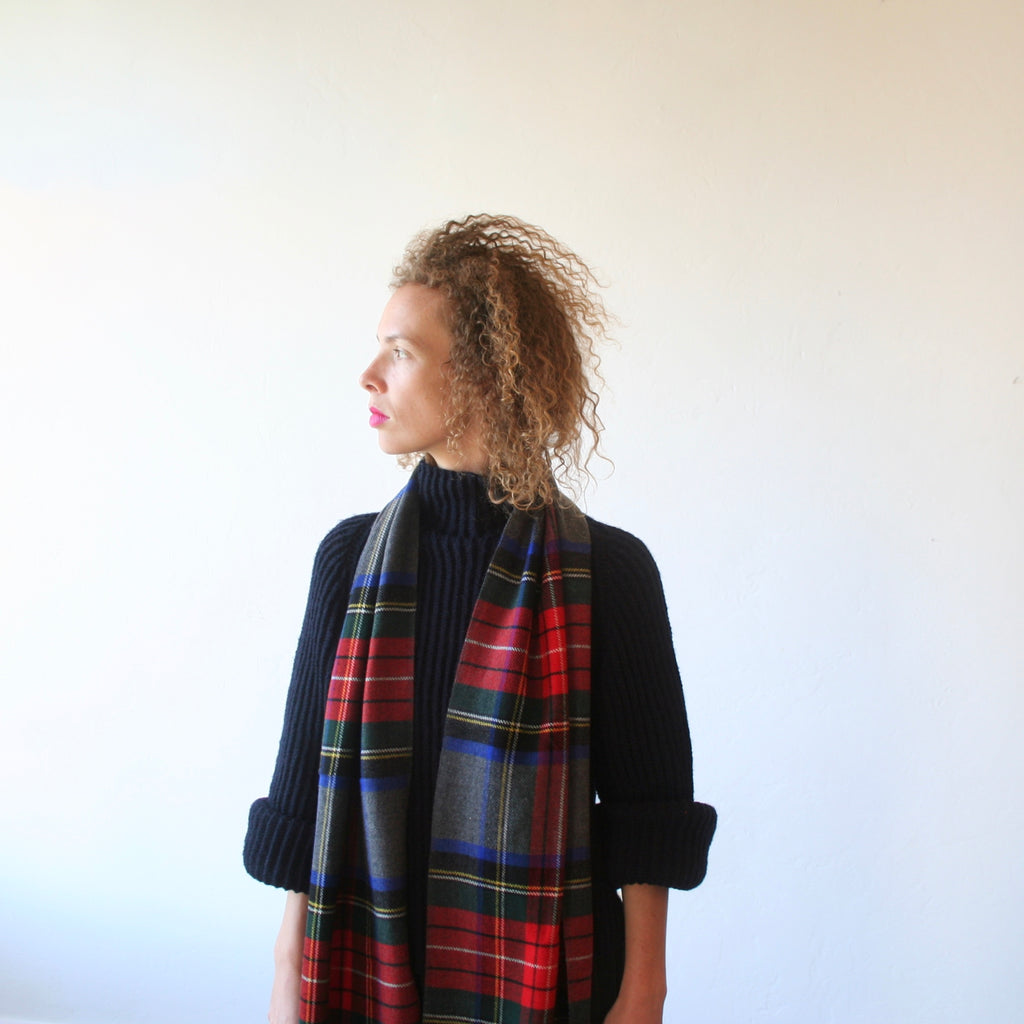 Cashmere Plaid Scarf - Charcoal