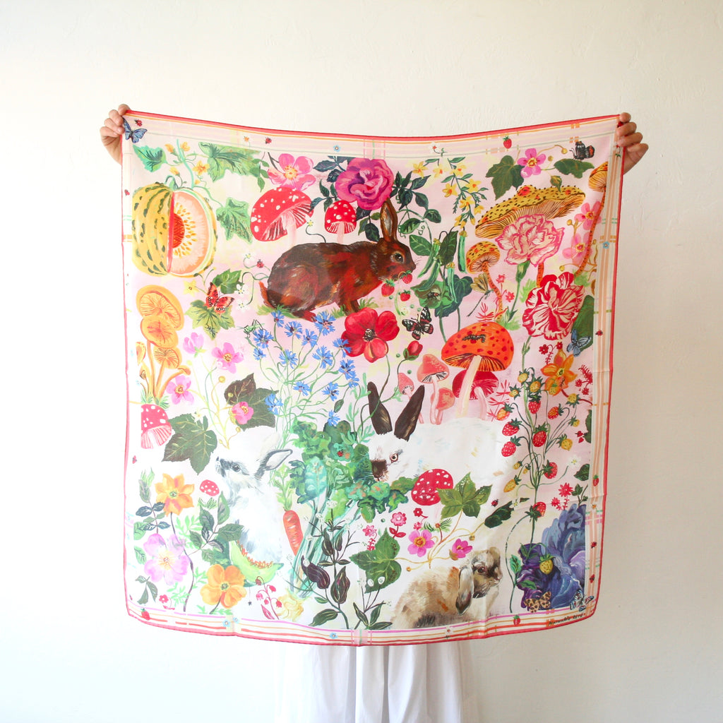 Nathalie Lété Silk Scarves, Animals and Flowers - 2 Styles