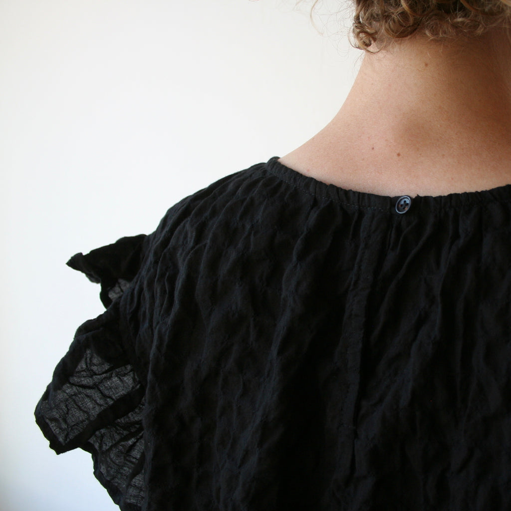 Bon Ruffle Shirt - Black Lightweight Cotton