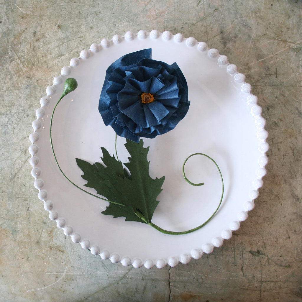 Blue Poppy Paper Flower