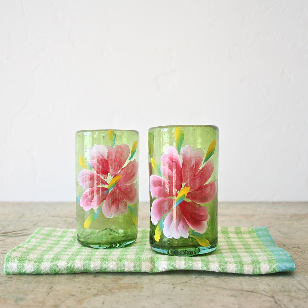 Hand Painted Flower Glasses - Pink Flower