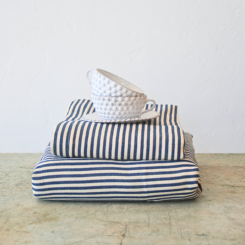 Tensira Blue and Cream Thin Striped Tablecloth - Two Sizes