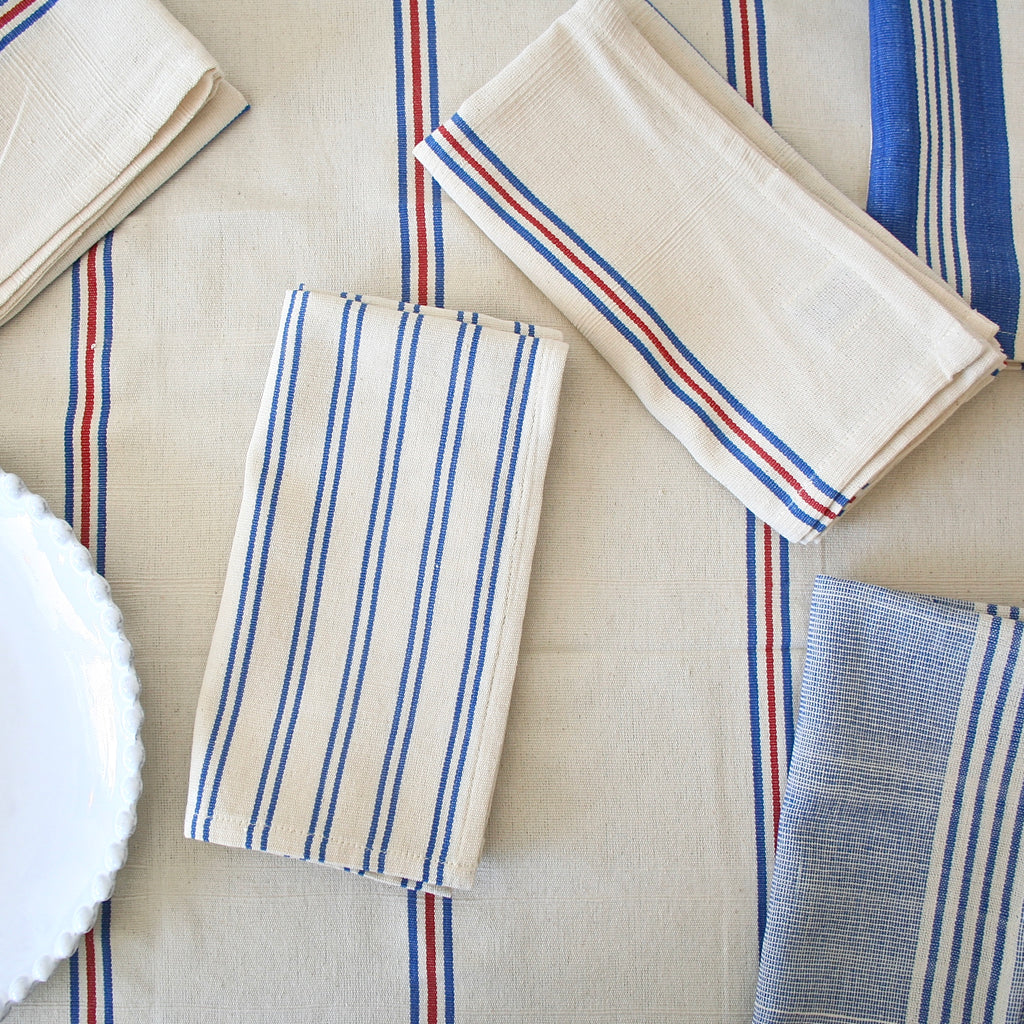 Tensira Red and Blue Striped Tablecloth - Two Sizes