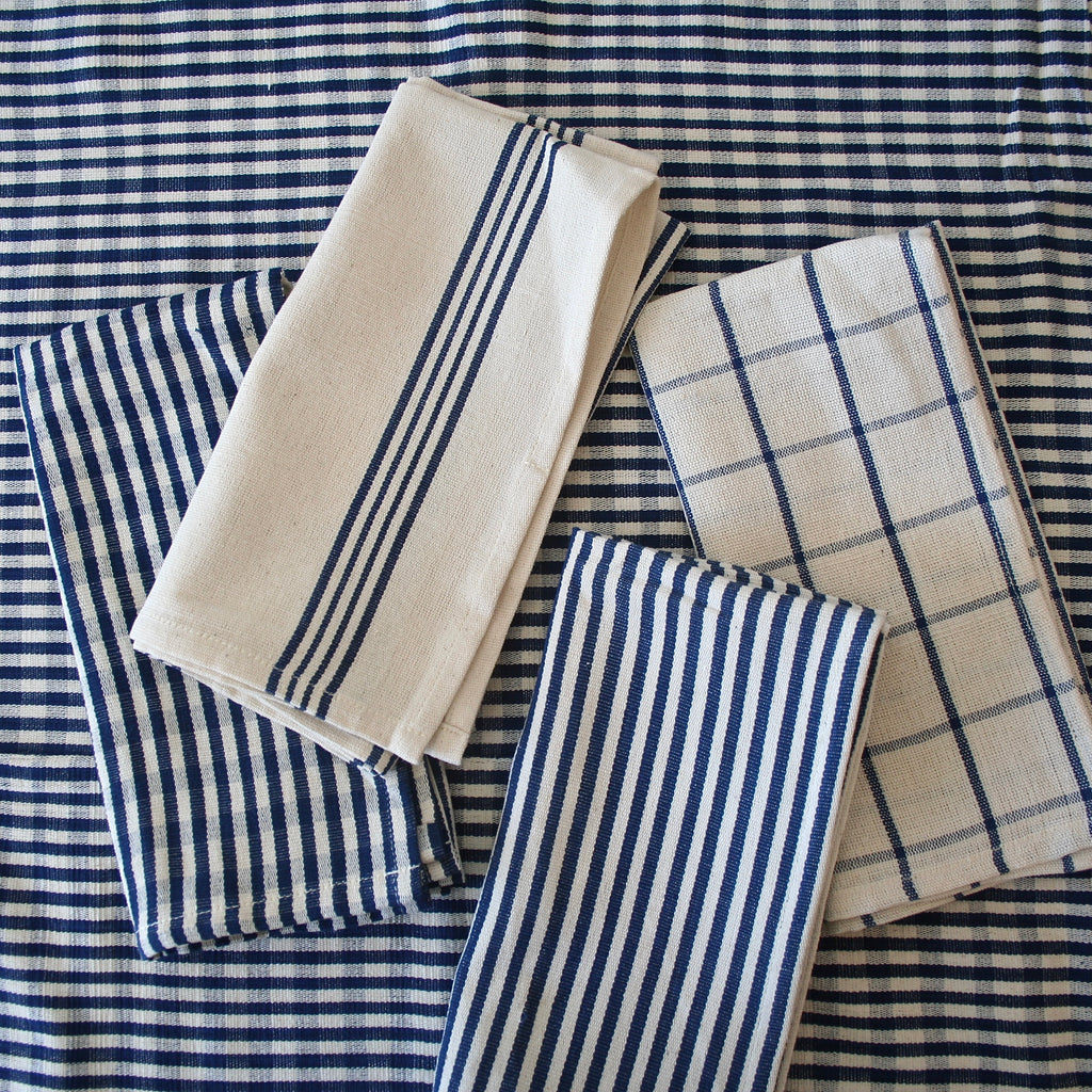Tensira Deep Blue and Cream Gingham Tablecloth - Two Sizes