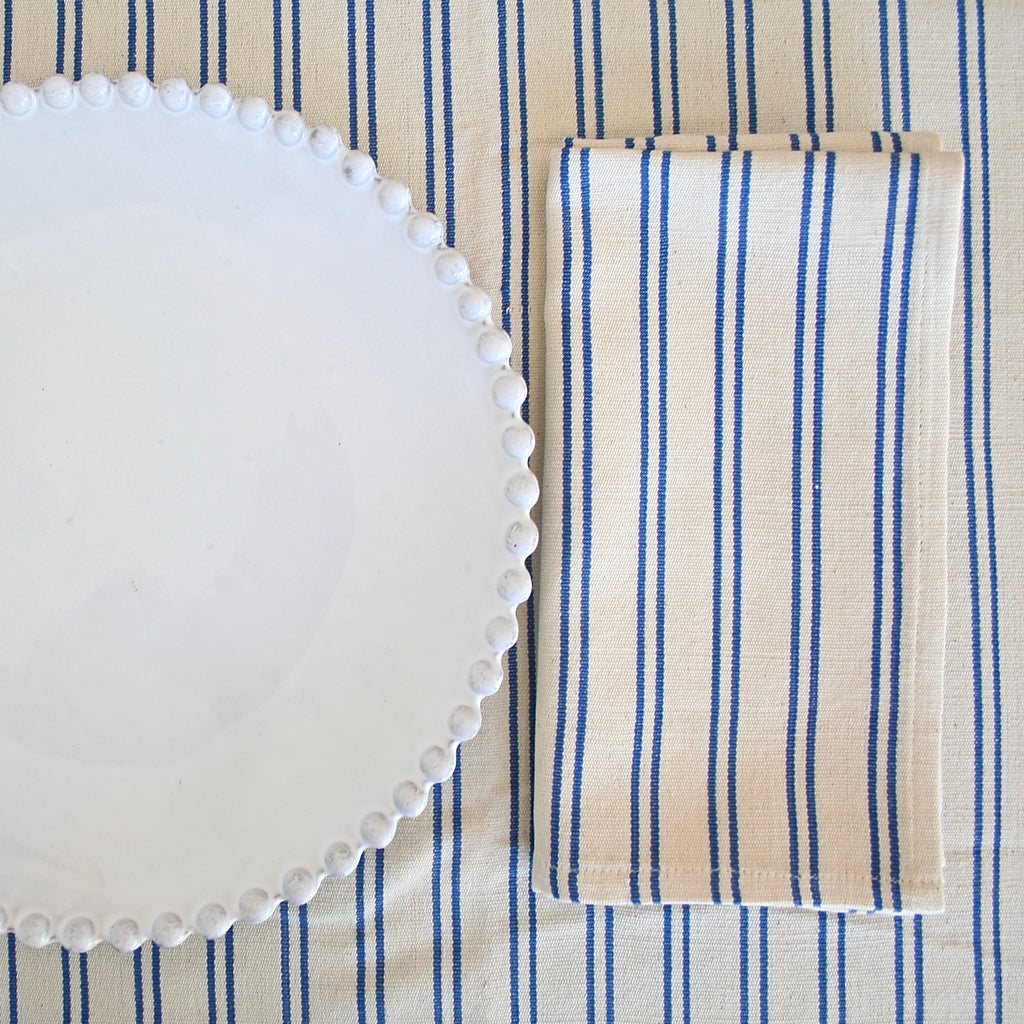 Tensira Cream with Small Blue Stripes Tablecloth - Two Sizes