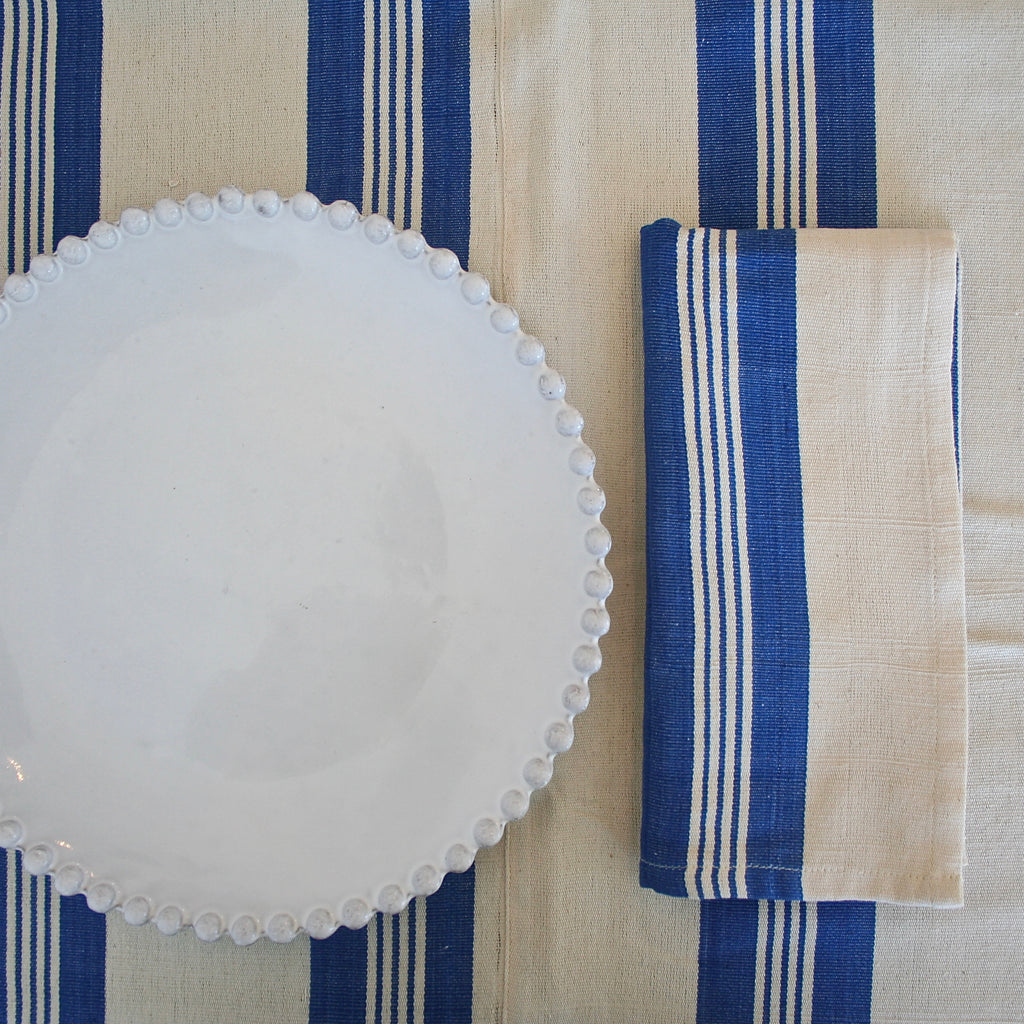 Tensira Cream with Wide Blue Stripes Tablecloth - Two Sizes