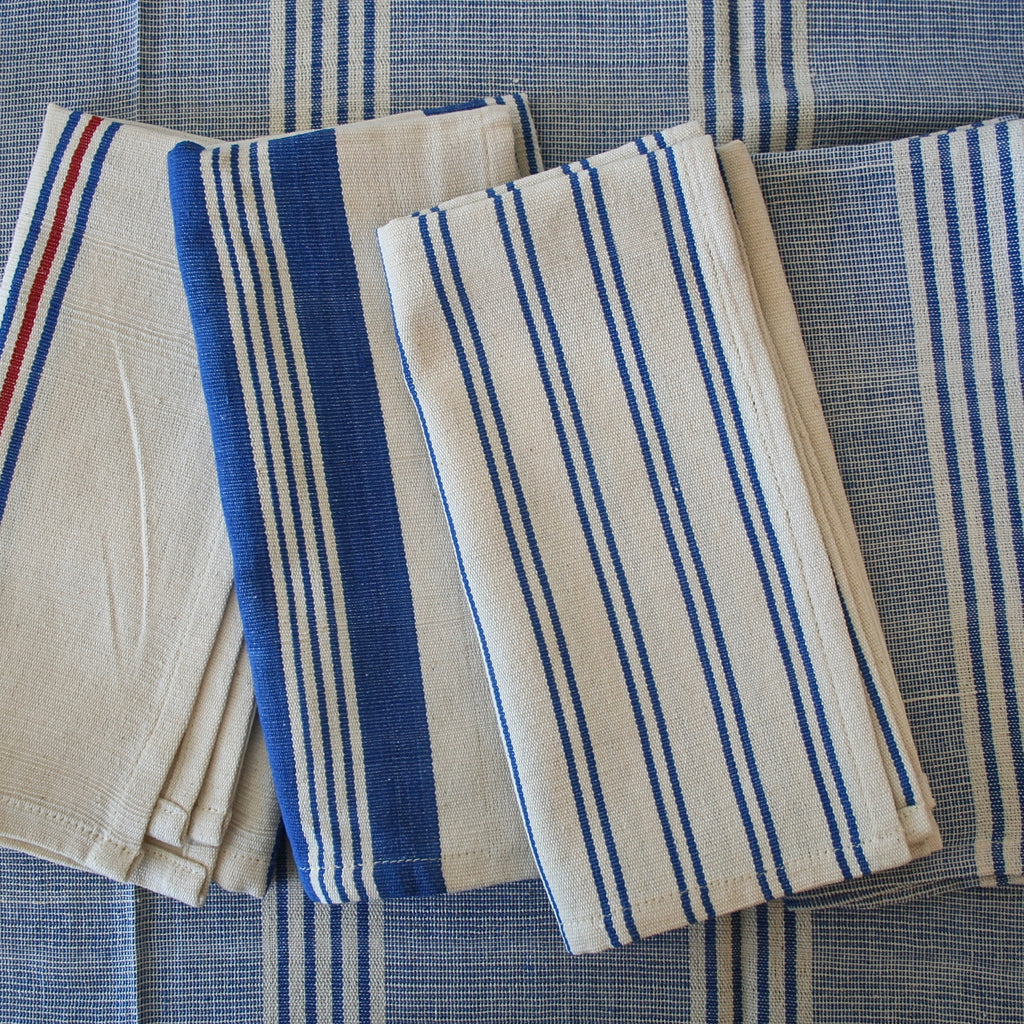 Tensira Light Blue and Cream Striped Tablecloth - Two Sizes