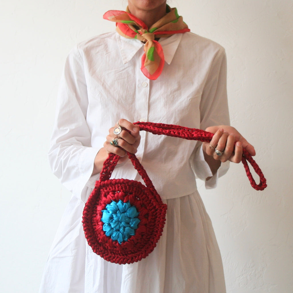 Maria la Rosa Hand Crocheted Bag - Red/Turquoise