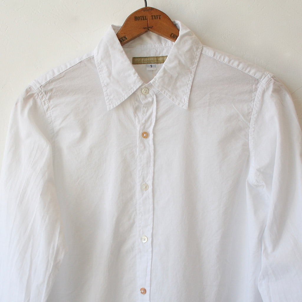 Pip Squeak Chapeau Long Boy Shirt - White Cotton Batiste