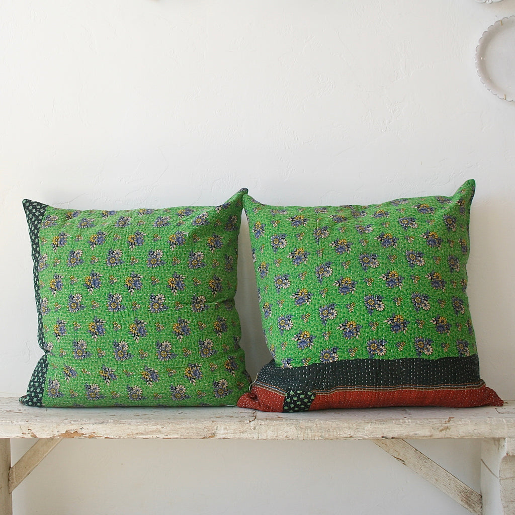 One of a Kind Large Kantha Pillows - Green