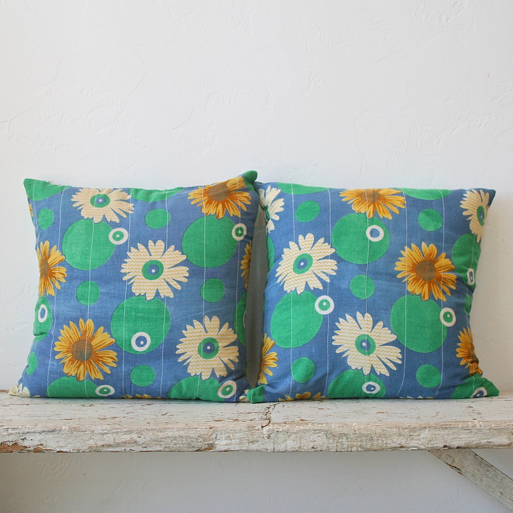 Vintage Upcycled Cotton Pillow - Blue & Green
