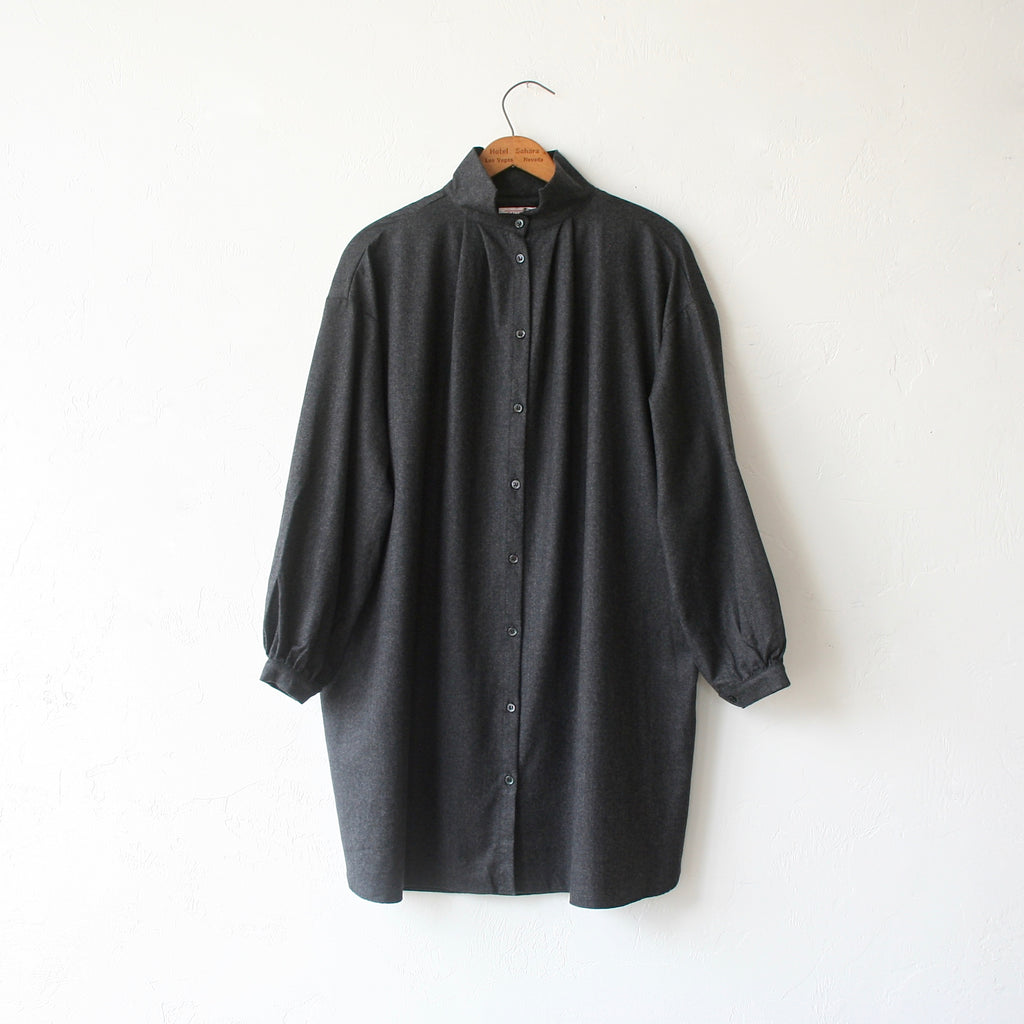 Gallego Desportes Wave Collar Shirt - Charcoal Wool Flannel