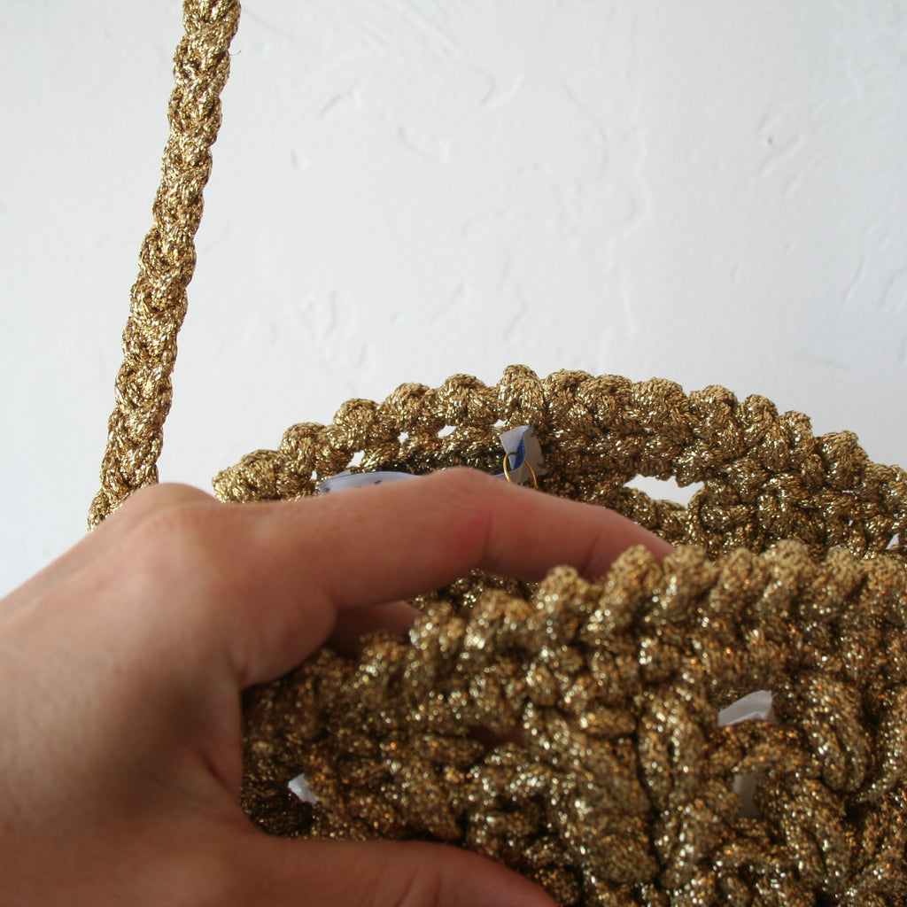 Maria La Rosa Crochet Bag - Gold