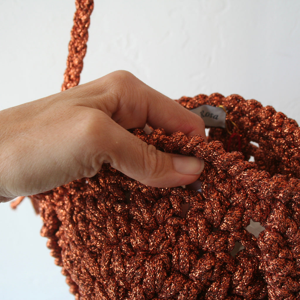 Maria La Rosa Crochet Bag - Copper