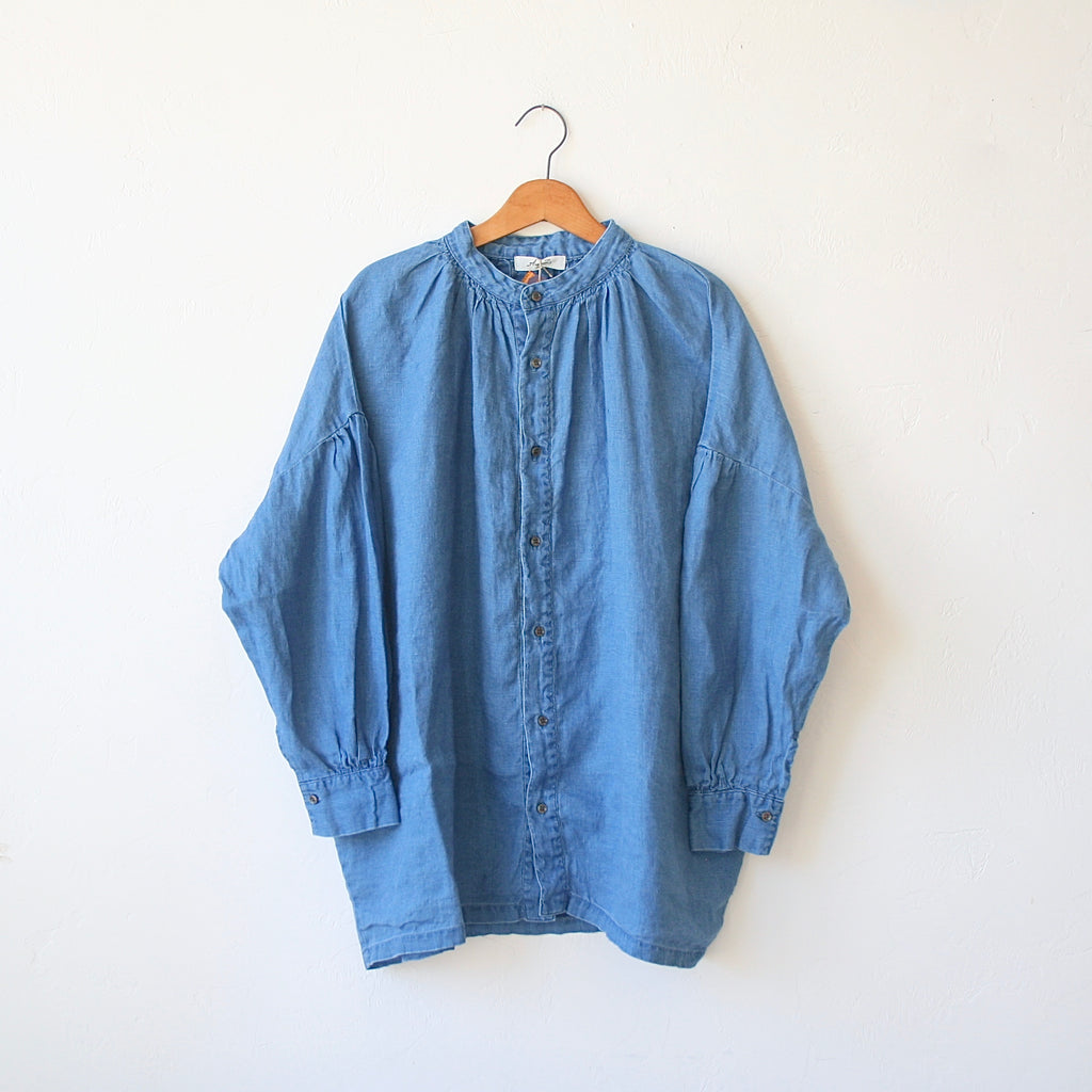 Ichi Antiquités Smock Linen Shirt - Denim Blue