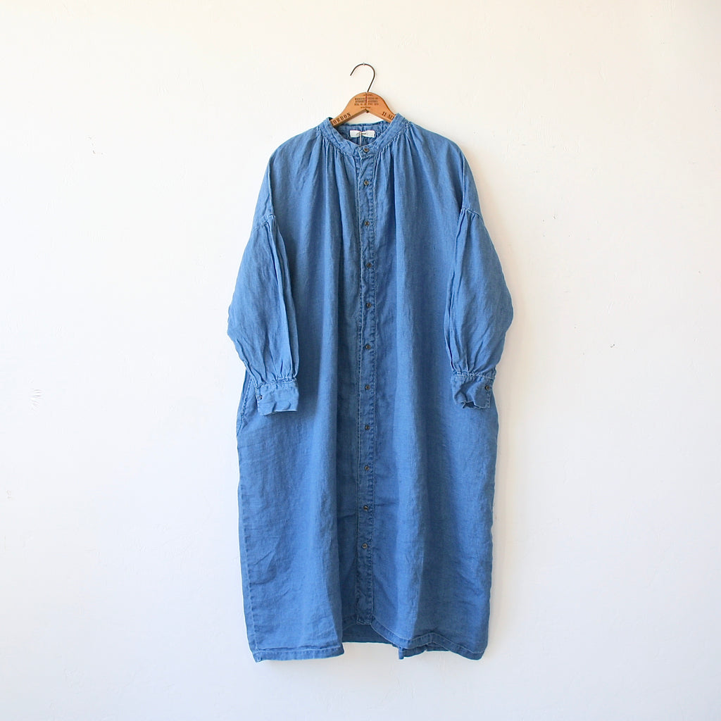 Ichi Antiquités Linen Smock Dress - Denim Blue