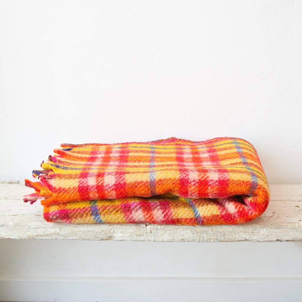 Plaid Wool Blanket - Yellow, Hot Pink, Blue