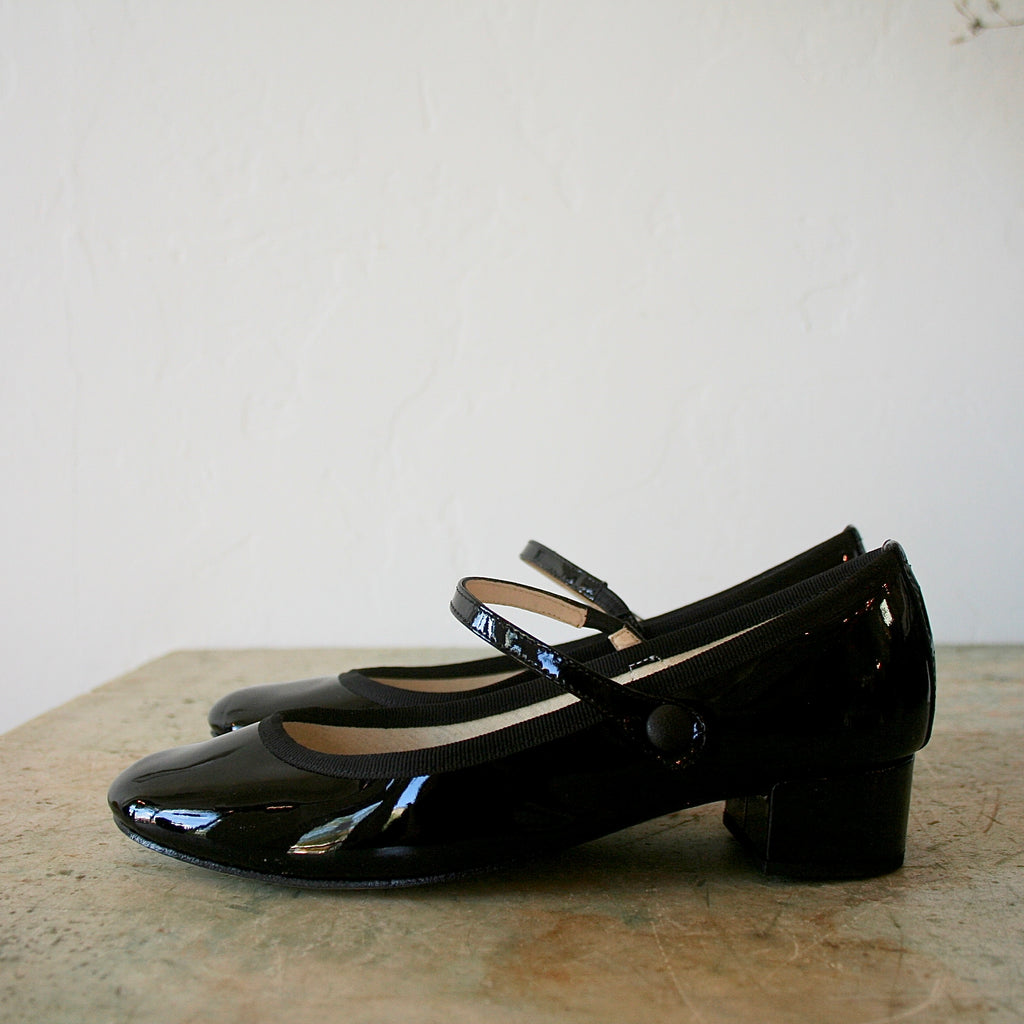 Repetto Rose Mary Janes - Black Patent