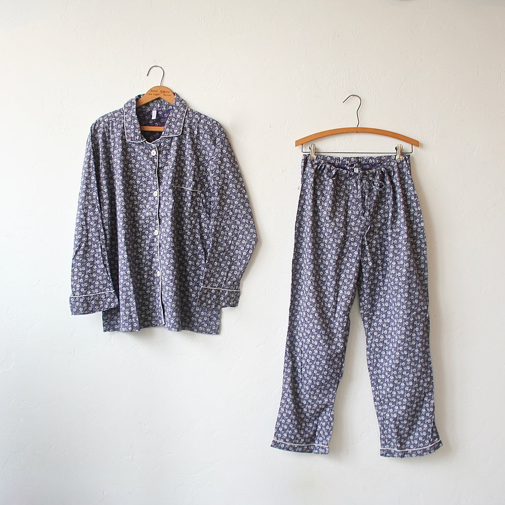 Oversized Pajama Set - Blue and White Floral