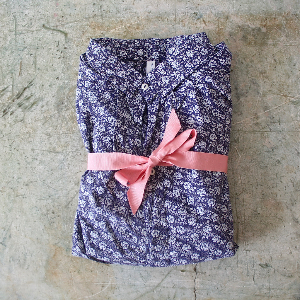 Domi Night Shirt - Blue and White Floral