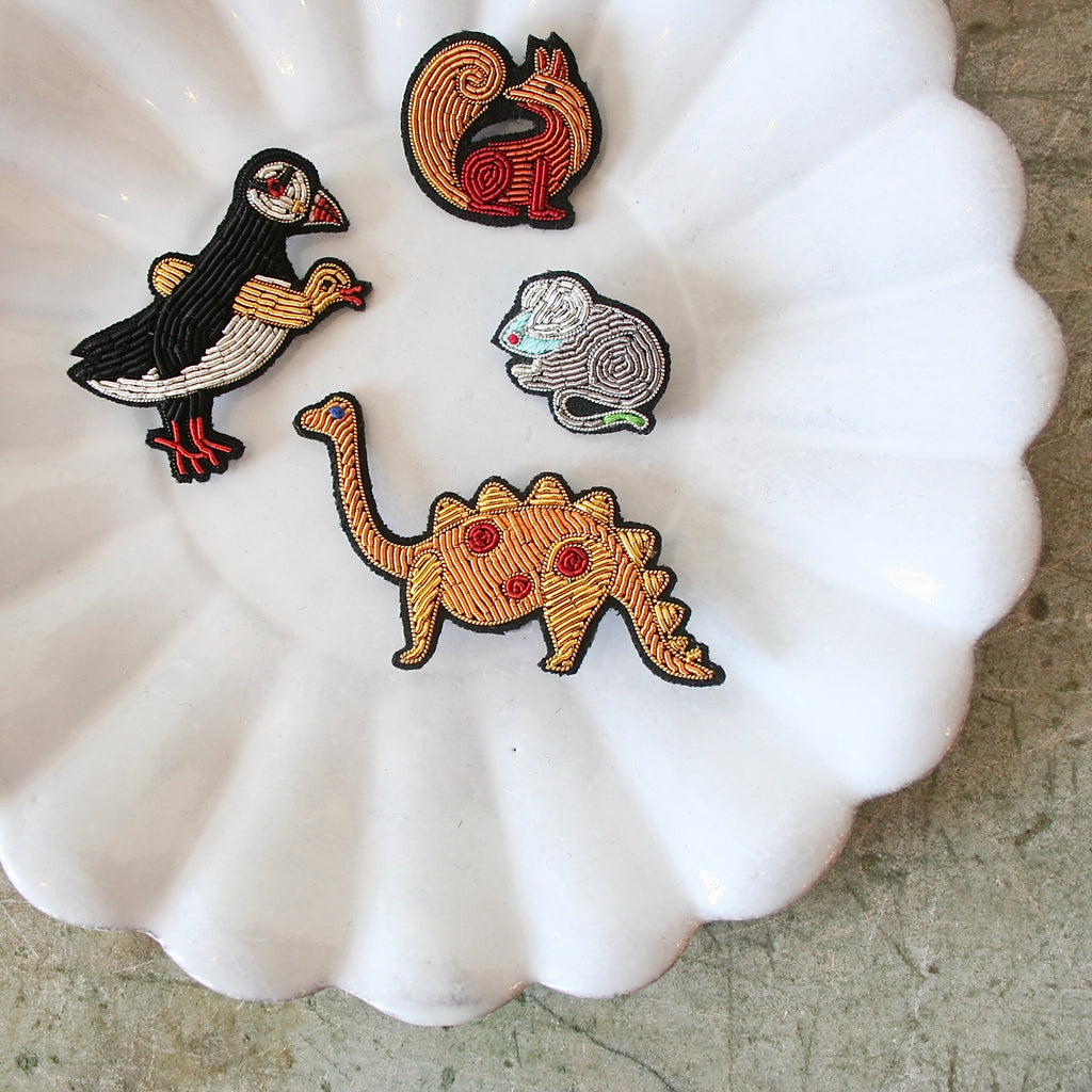 Macon et Lesquoy hand Embroidered Pins, Creatures - 4 Styles