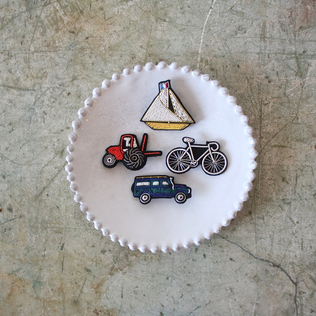Macon et Lesquoy Hand Embroidered Pins, Transportation - 4 Styles