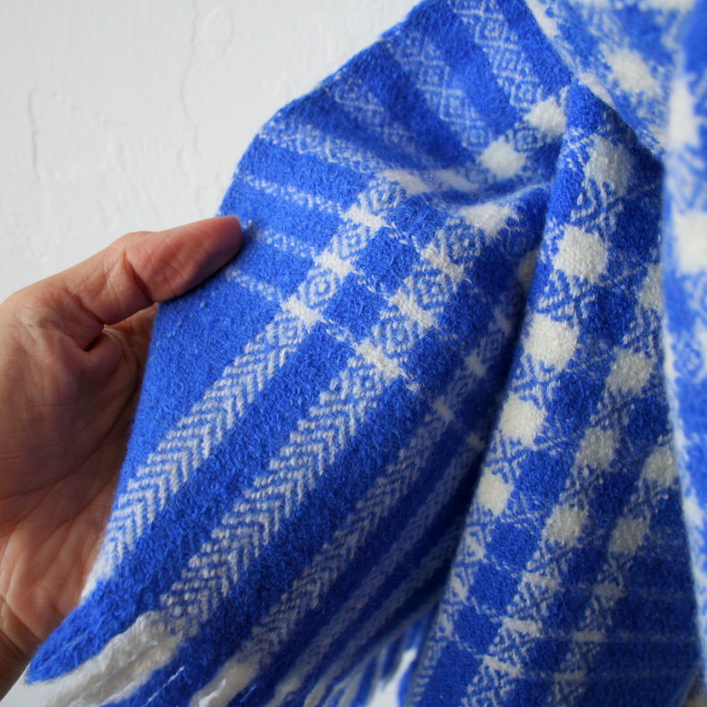 Handspun Wool Shawl - Blue and Cream Gingham