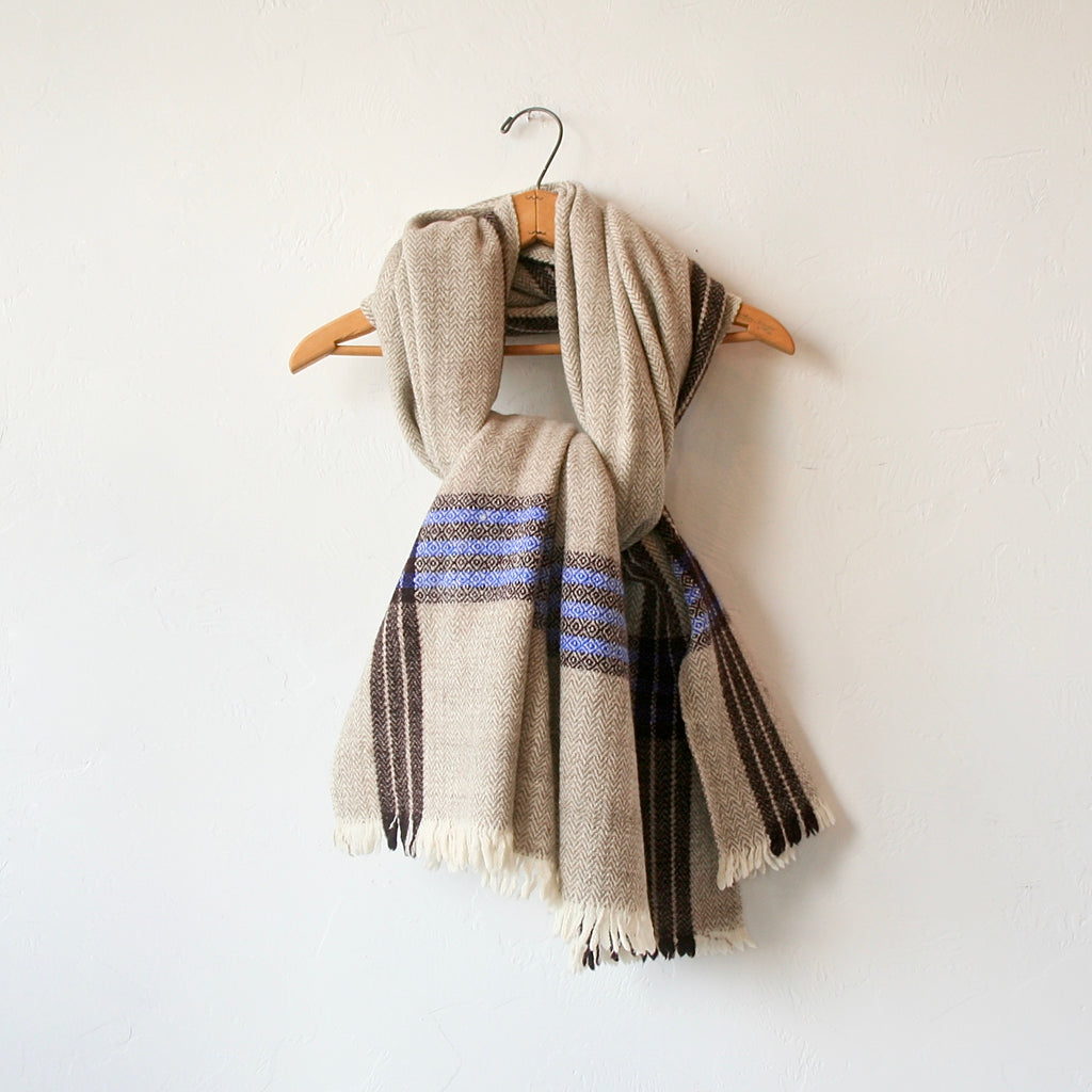 Handspun Wool Shawl - Brown and Blue Stripes