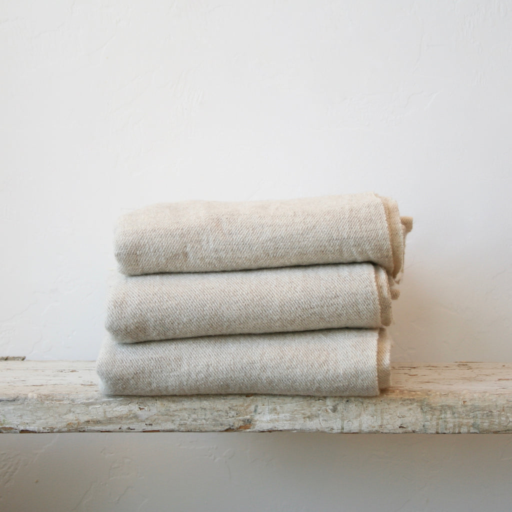 Handwoven Wool Throw - Cream