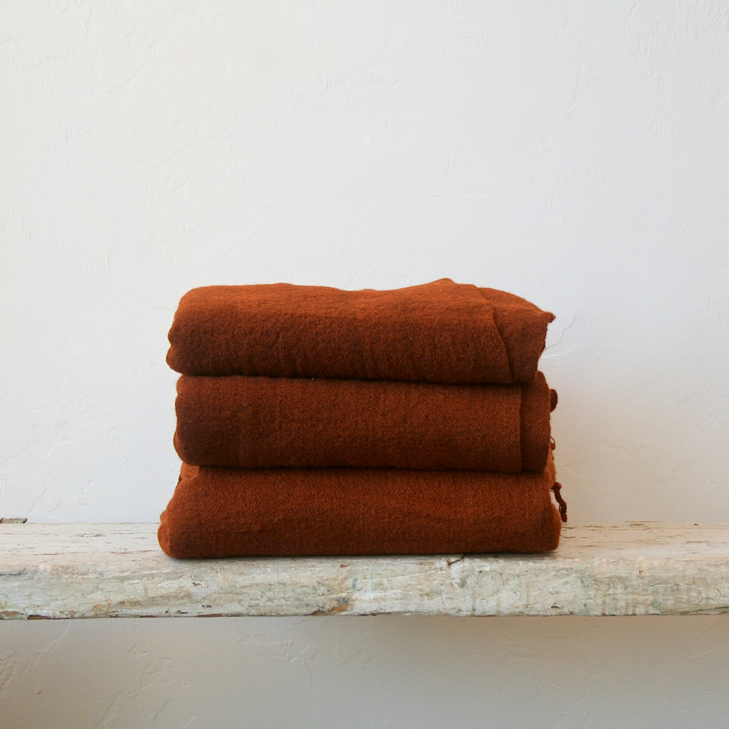 Handwoven Wool Throw - Nutmeg