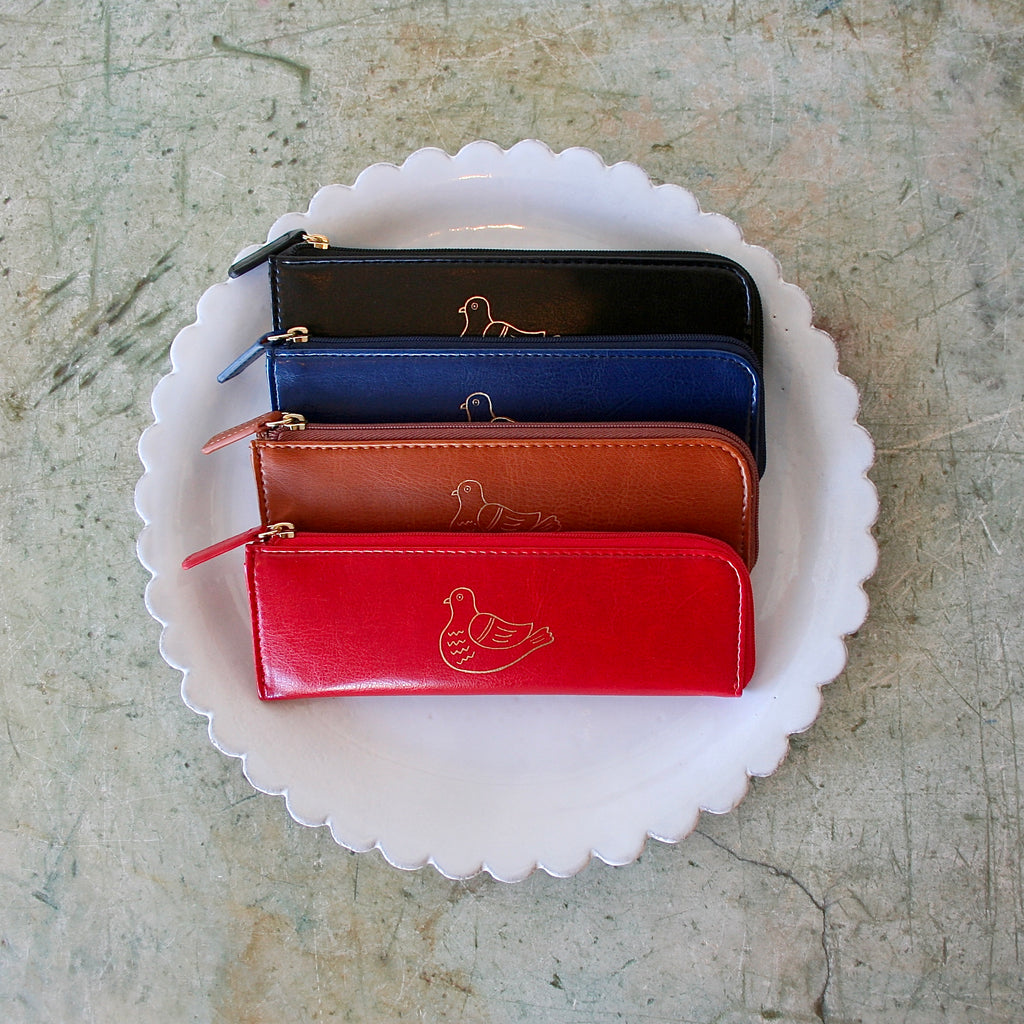 Embossed Bird Pencil Cases - 4 Colors