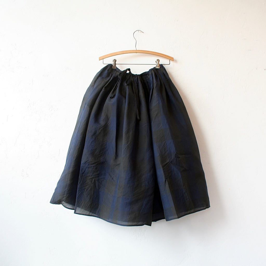 Apuntob Gathered Drawstring Silk Skirt - Blue/Black Gingham