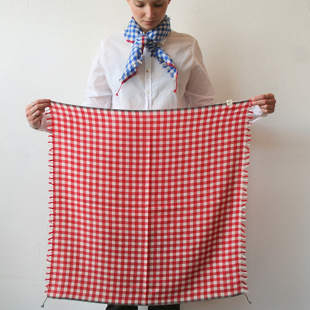Cashmere Gingham Scarf - Red